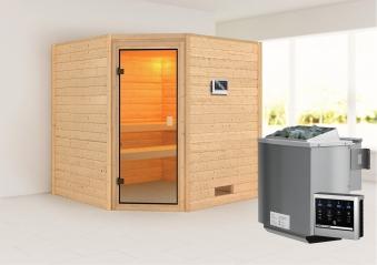 WoodFeeling Sauna Nina 38mm Bio Saunaofen 9kW extern Classic Tür Bild 1