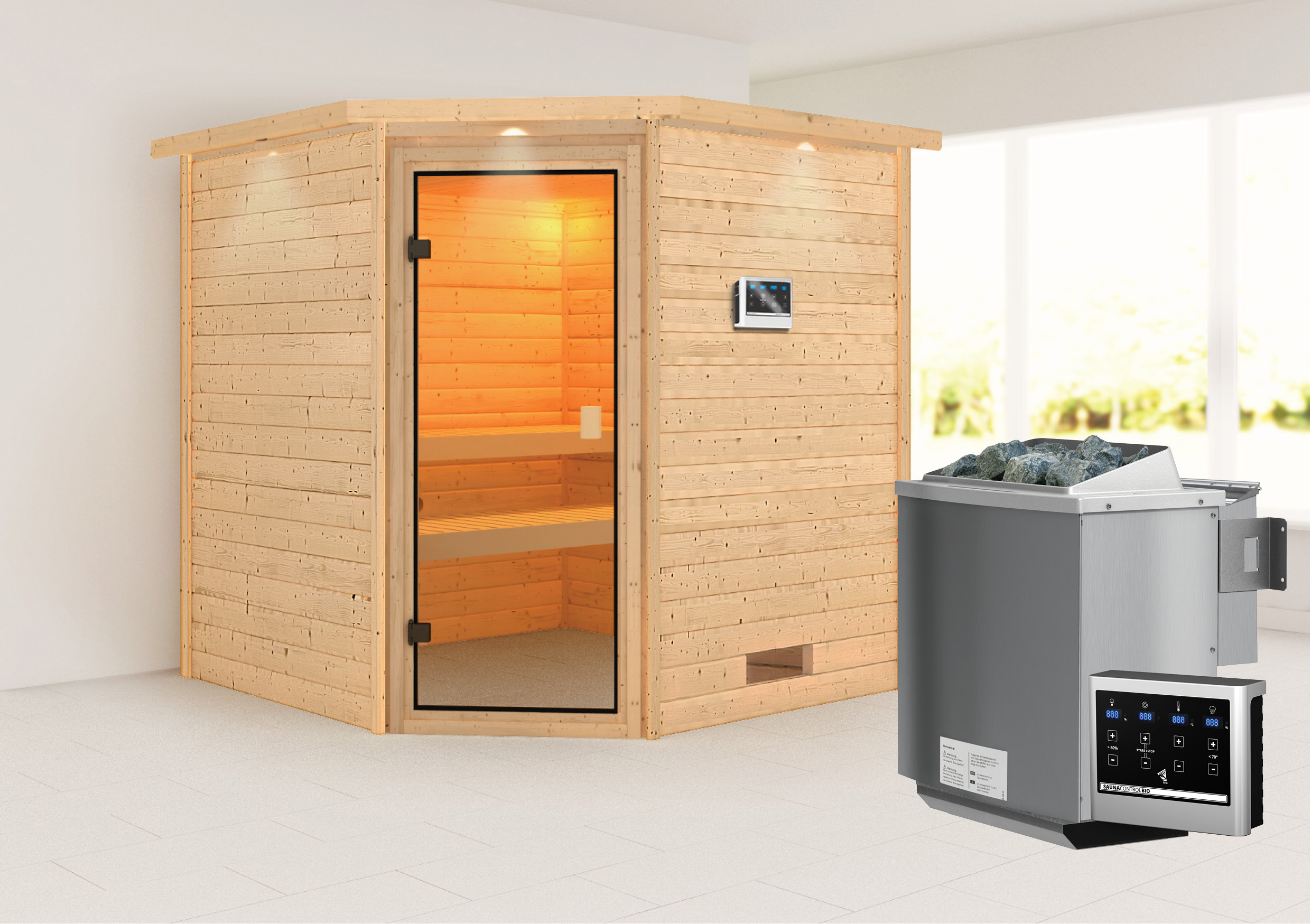 WoodFeeling Sauna Nina 38mm Bio Saunaofen 9kW extern Kranz Classic Tür Bild 1