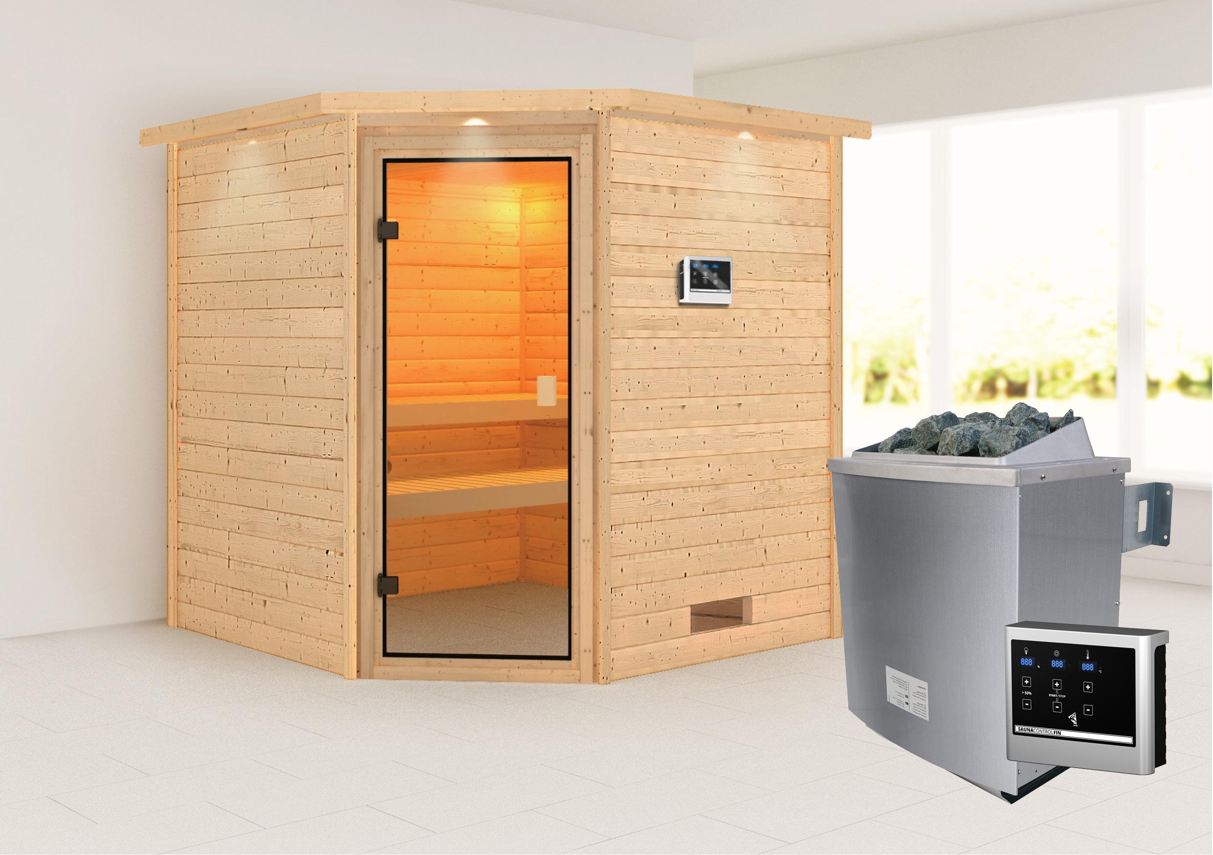 WoodFeeling Sauna Nina 38mm Saunaofen 9kW extern Kranz Classic Tür Bild 1