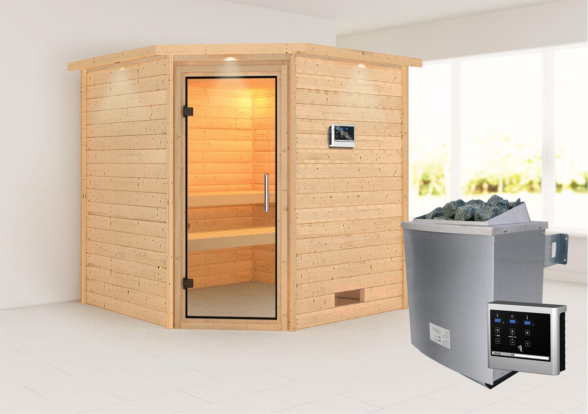 WoodFeeling Sauna Nina 38mm Saunaofen 9kW extern Kranz Klarglas Tür Bild 1