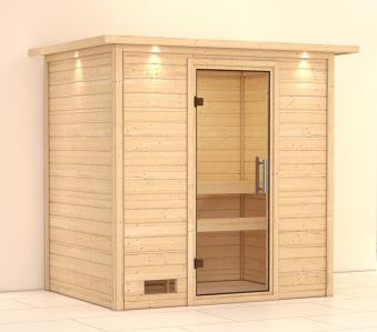 WoodFeeling Sauna Sonja 38mm Dachkranz ohne Ofen Klarglas Tür Bild 1