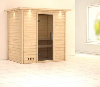 WoodFeeling Sauna Sonja 38mm Dachkranz ohne Ofen moderne Tür Bild 1
