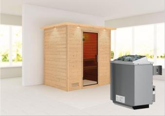 WoodFeeling Sauna Sonja 38mm Saunaofen 9 kW intern Kranz moderne  Tür Bild 1