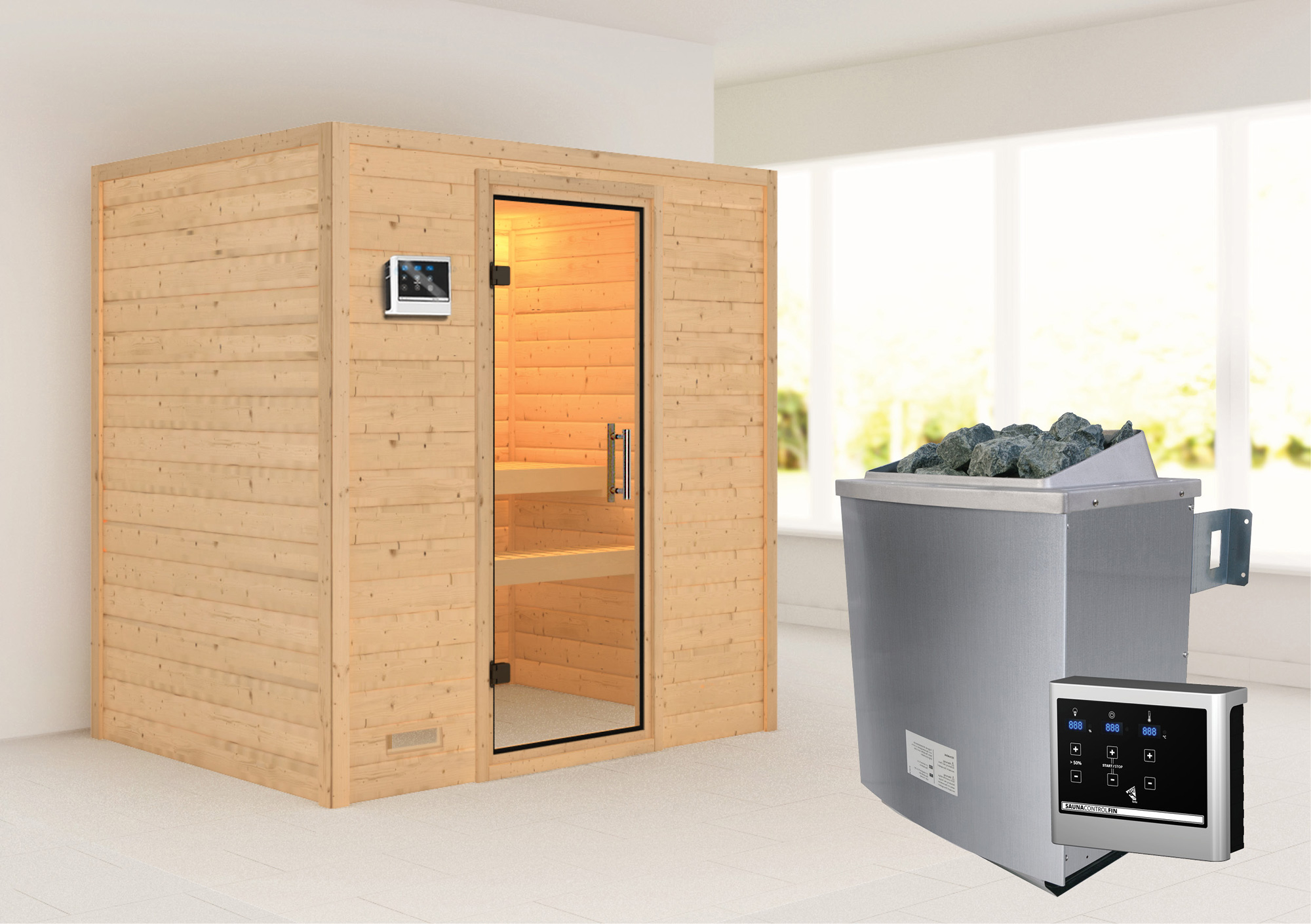 WoodFeeling Sauna Sonja 38mm mit Saunaofen 9 kW extern Klarglas Tür Bild 1