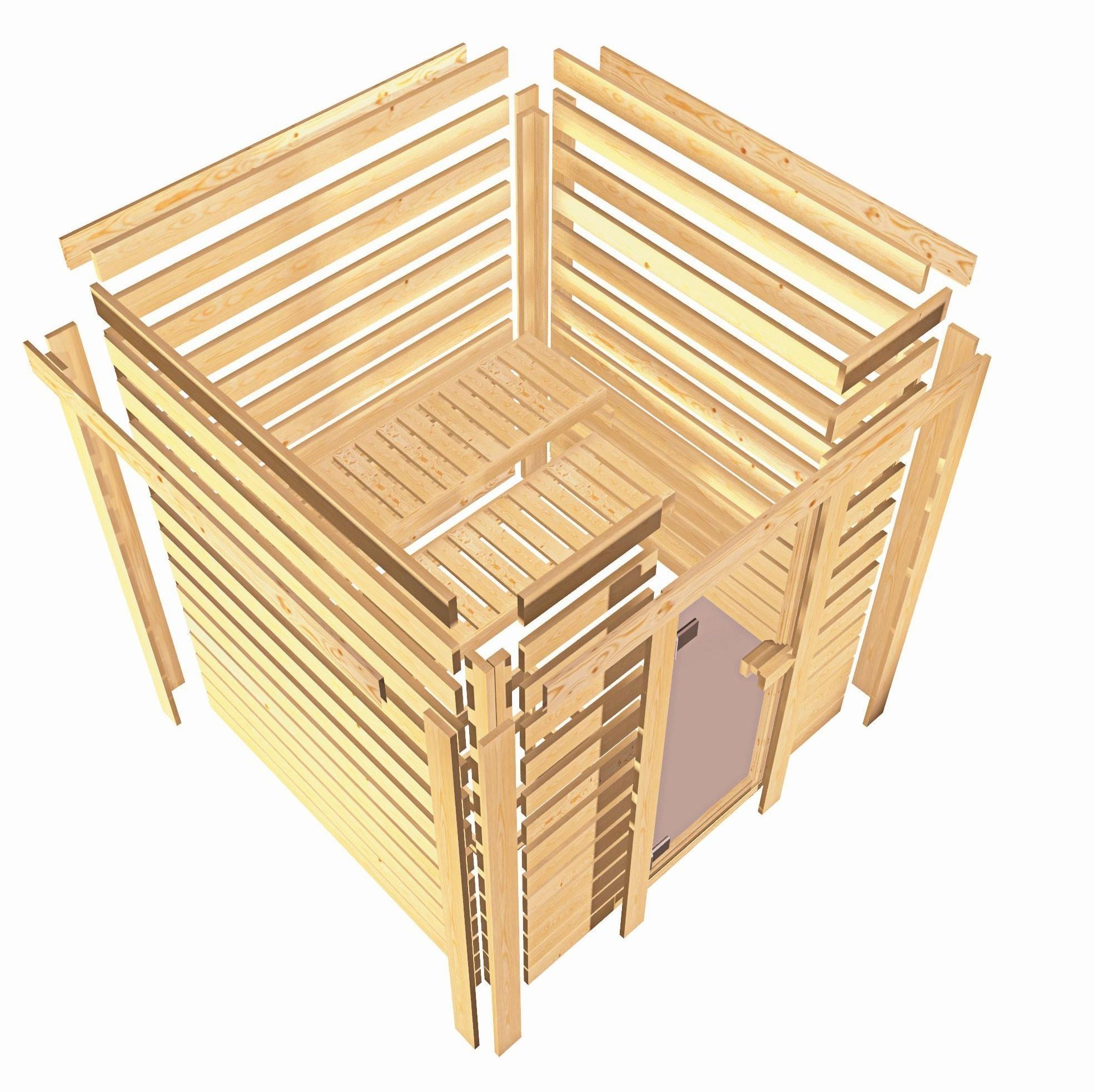 WoodFeeling Sauna Sonja 38mm mit Saunaofen 9 kW extern Klarglas Tür Bild 6