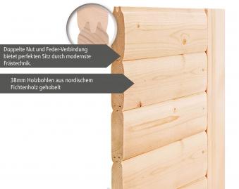 WoodFeeling Sauna Sonja 38mm mit Saunaofen 9 kW extern Klarglas Tür Bild 5