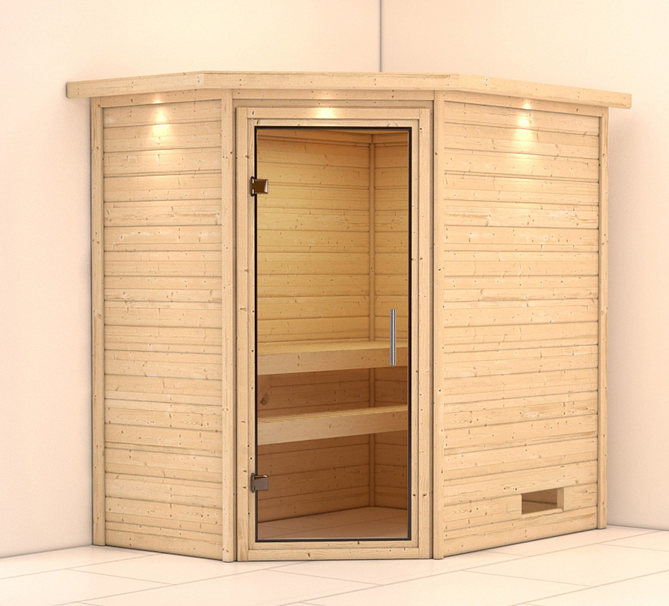 WoodFeeling Sauna Svea 38mm 230V Dachkranz ohne Ofen Klarglas Tür Bild 1