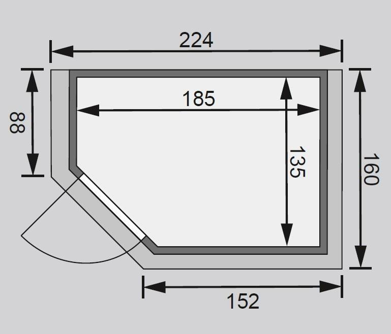 WoodFeeling Sauna Svea 38mm 230V Dachkranz ohne Ofen moderne Tür Bild 2