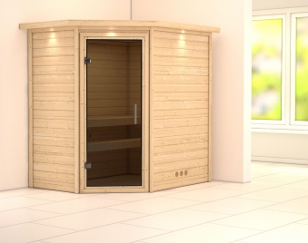WoodFeeling Sauna Svea 38mm 230V Dachkranz ohne Ofen moderne Tür Bild 1