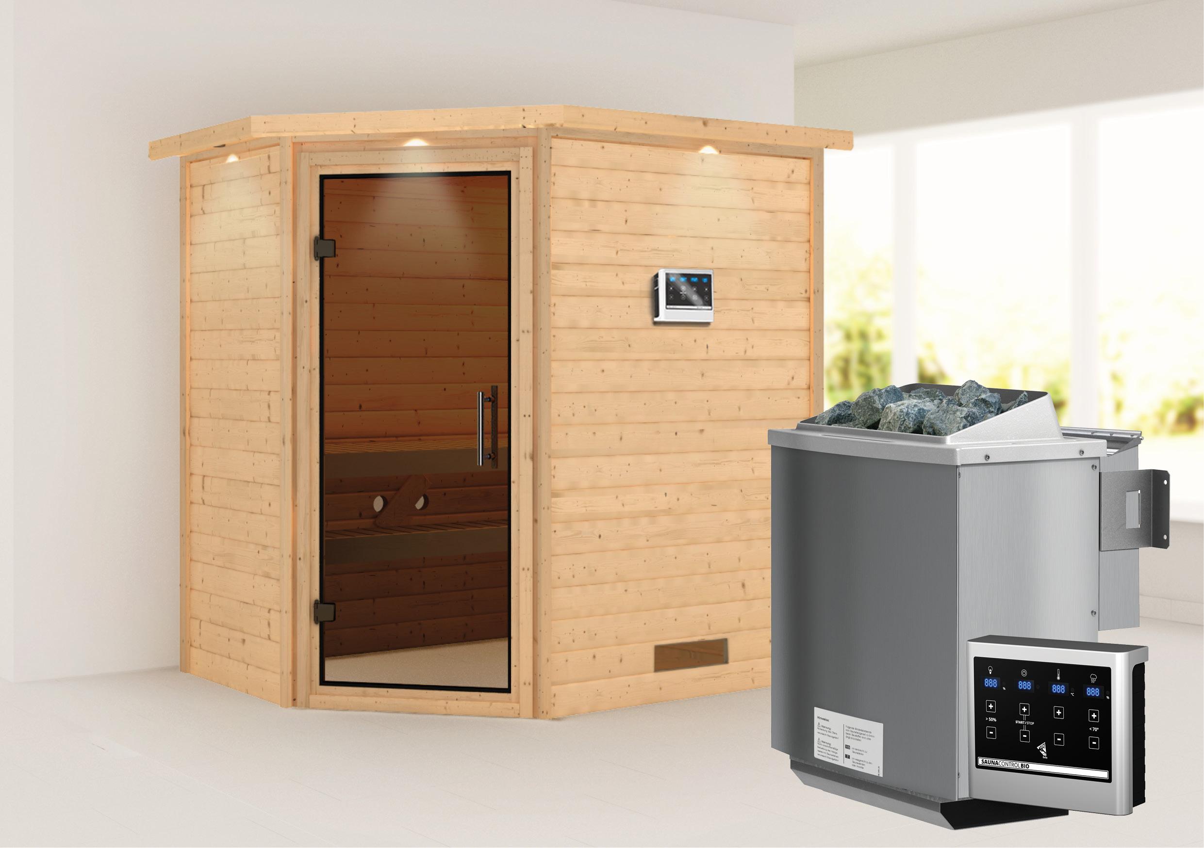 WoodFeeling Sauna Svea 38mm BioSaunaofen 9kW ext. Kranz moderne Tür Bild 2