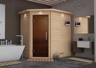 WoodFeeling Sauna Svea 38mm BioSaunaofen 9kW ext. Kranz moderne Tür Bild 1
