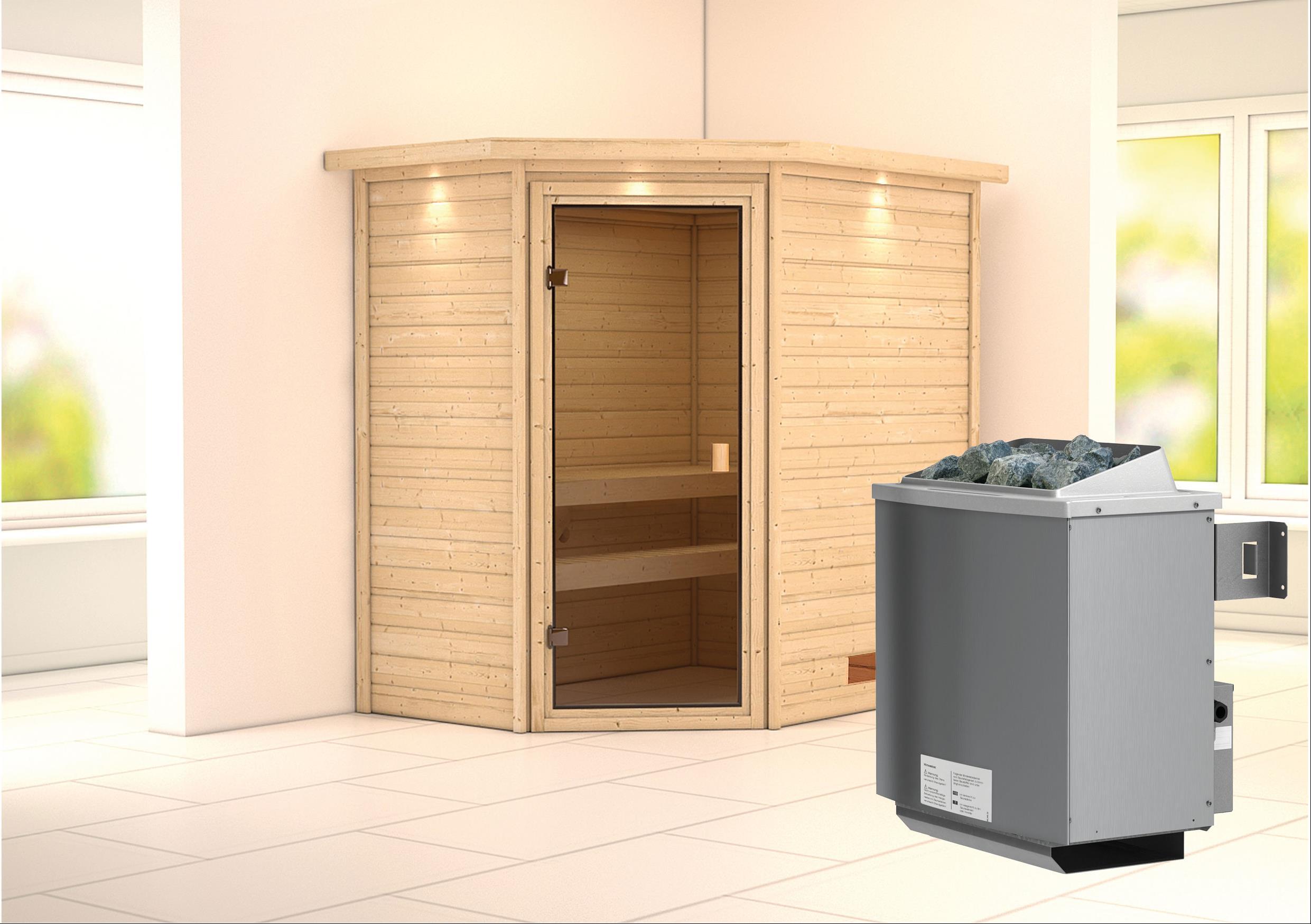 WoodFeeling Sauna Svea 38mm Saunaofen 9kW intern Dachkranz Classic Tür Bild 1