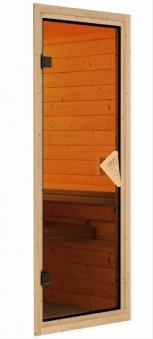 WoodFeeling Sauna Svea 38mm Saunaofen 9kW intern Dachkranz Classic Tür Bild 6