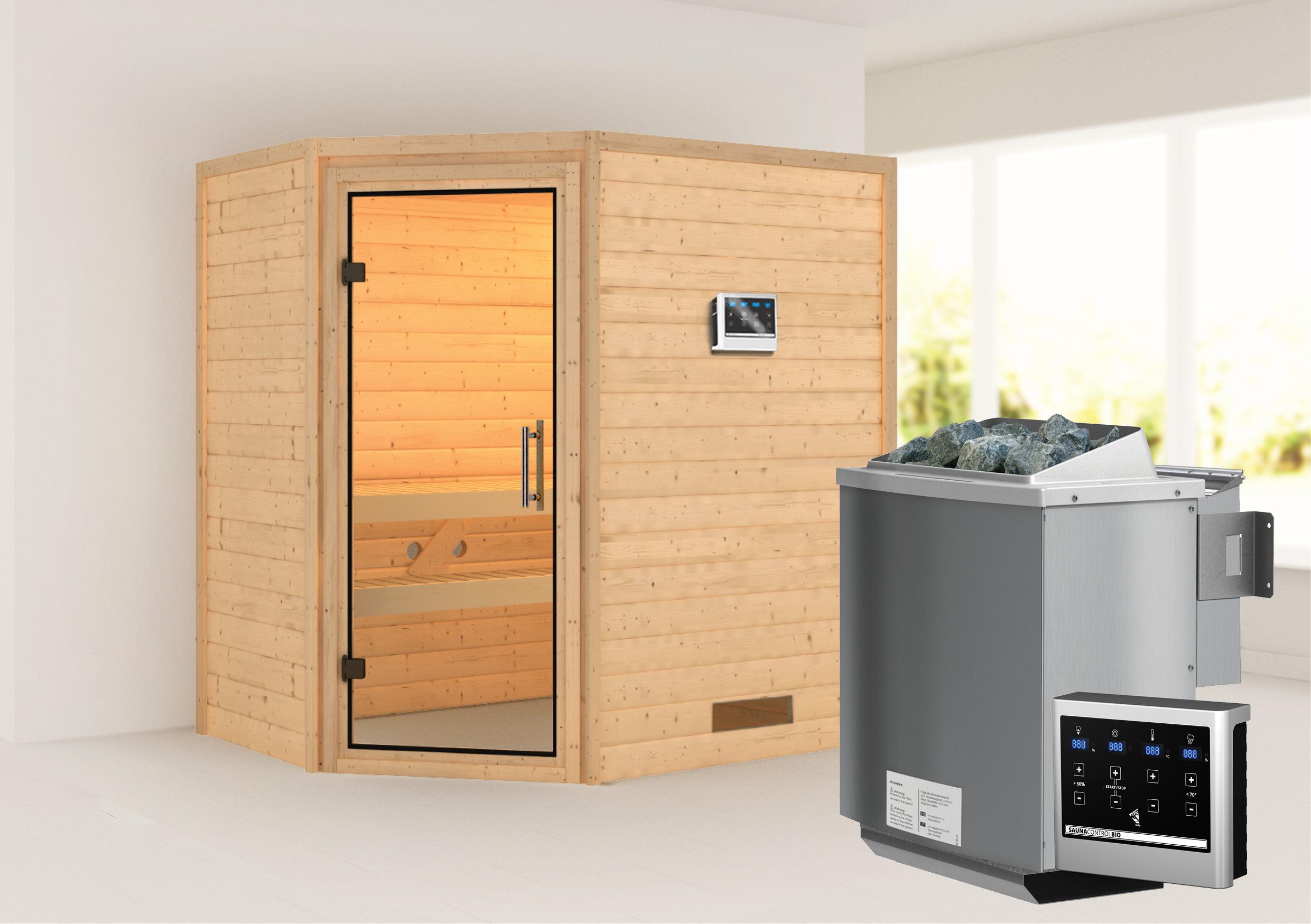 WoodFeeling Sauna Svea 38mm mit Bio Saunaofen 9 kW extern Klarglas Tür Bild 1