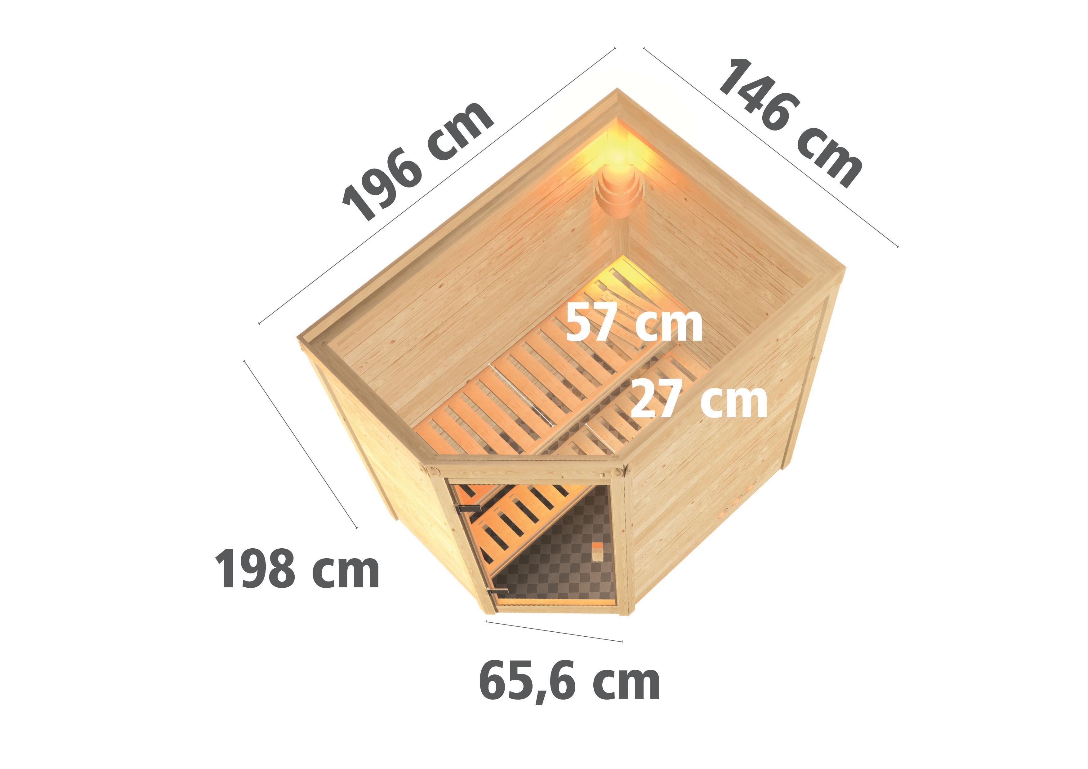 WoodFeeling Sauna Svea 38mm mit Bio Saunaofen 9 kW extern Klarglas Tür Bild 3