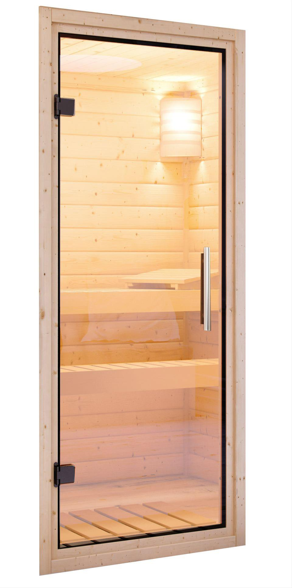 WoodFeeling Sauna Svea 38mm mit Bio Saunaofen 9 kW extern Klarglas Tür Bild 6