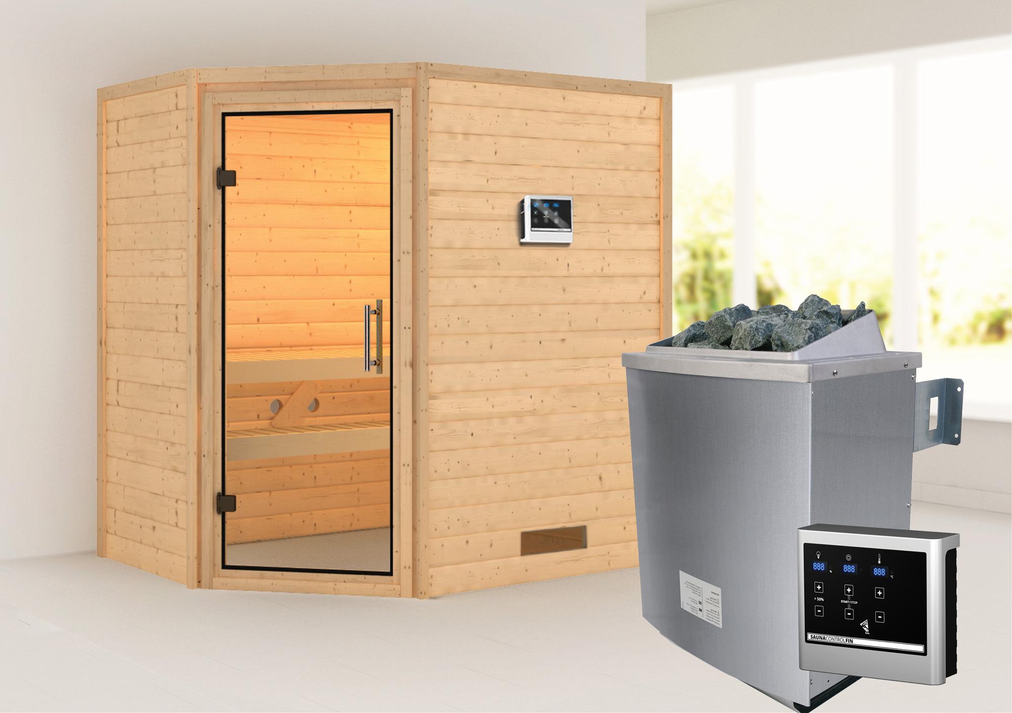 WoodFeeling Sauna Svea 38mm mit Saunaofen 9 kW extern Klarglas Tür Bild 1
