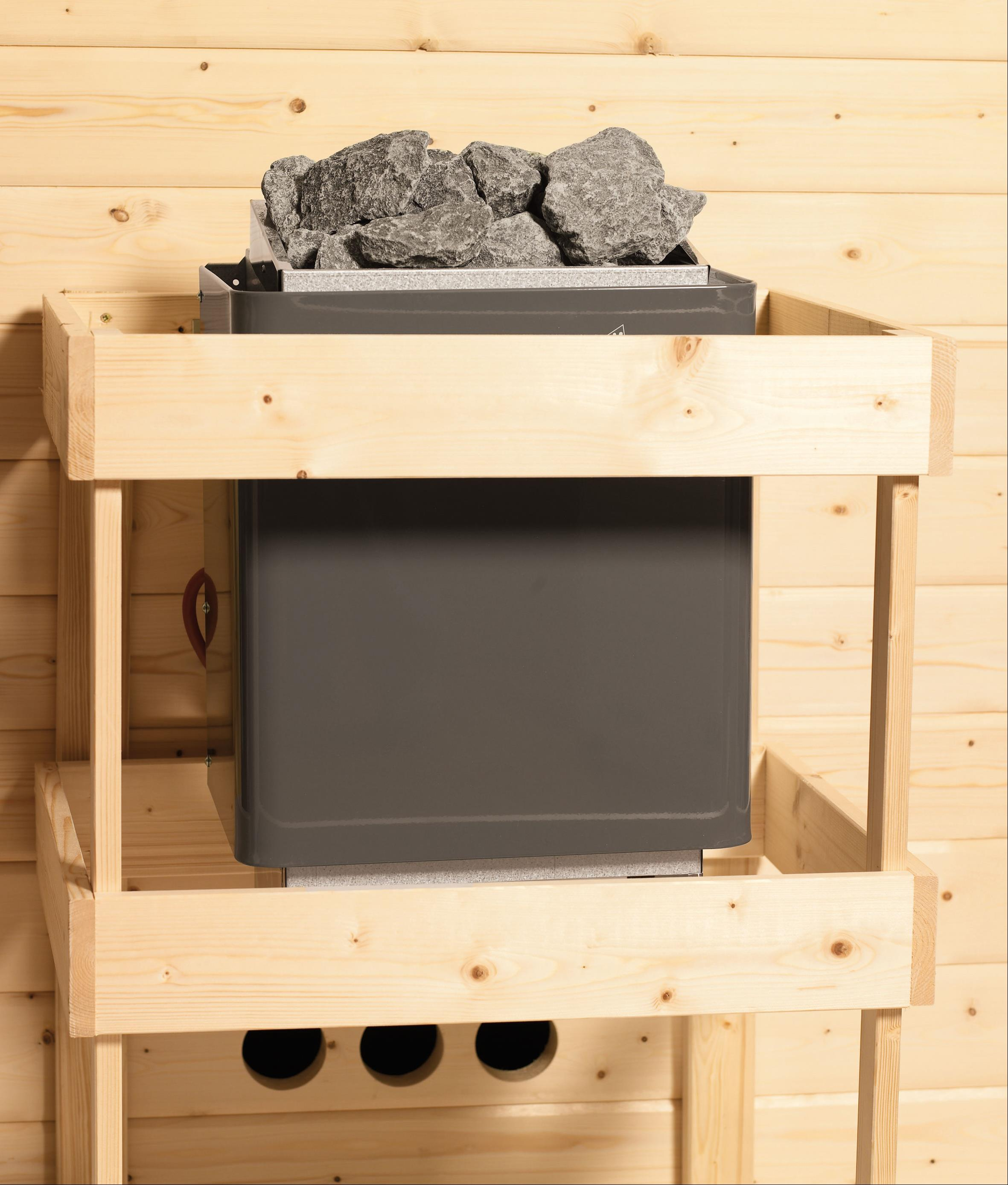 WoodFeeling Sauna Svea 38mm mit Saunaofen 9 kW extern Klarglas Tür Bild 9