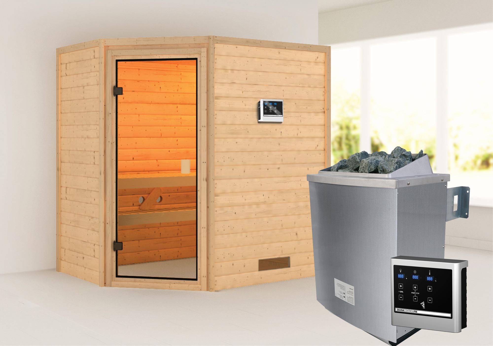 WoodFeeling Sauna Svea 38mm mit Saunaofen 9 kW extern classic Tür Bild 1