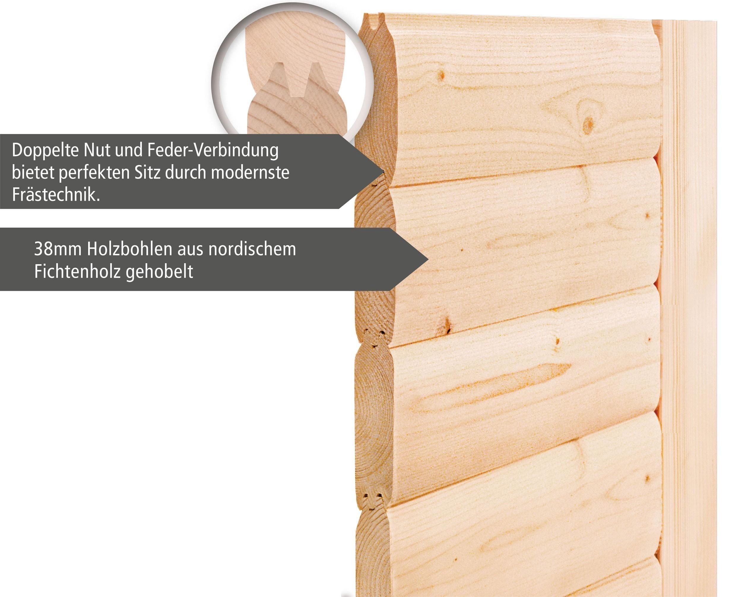 WoodFeeling Sauna Svea 38mm mit Saunaofen 9 kW extern classic Tür Bild 6
