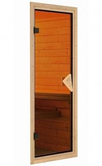 WoodFeeling Sauna Svea 38mm mit Saunaofen 9 kW extern classic Tür Bild 4