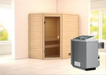 WoodFeeling Sauna Svea 38mm mit Saunaofen 9 kW intern classic Tür Bild 1