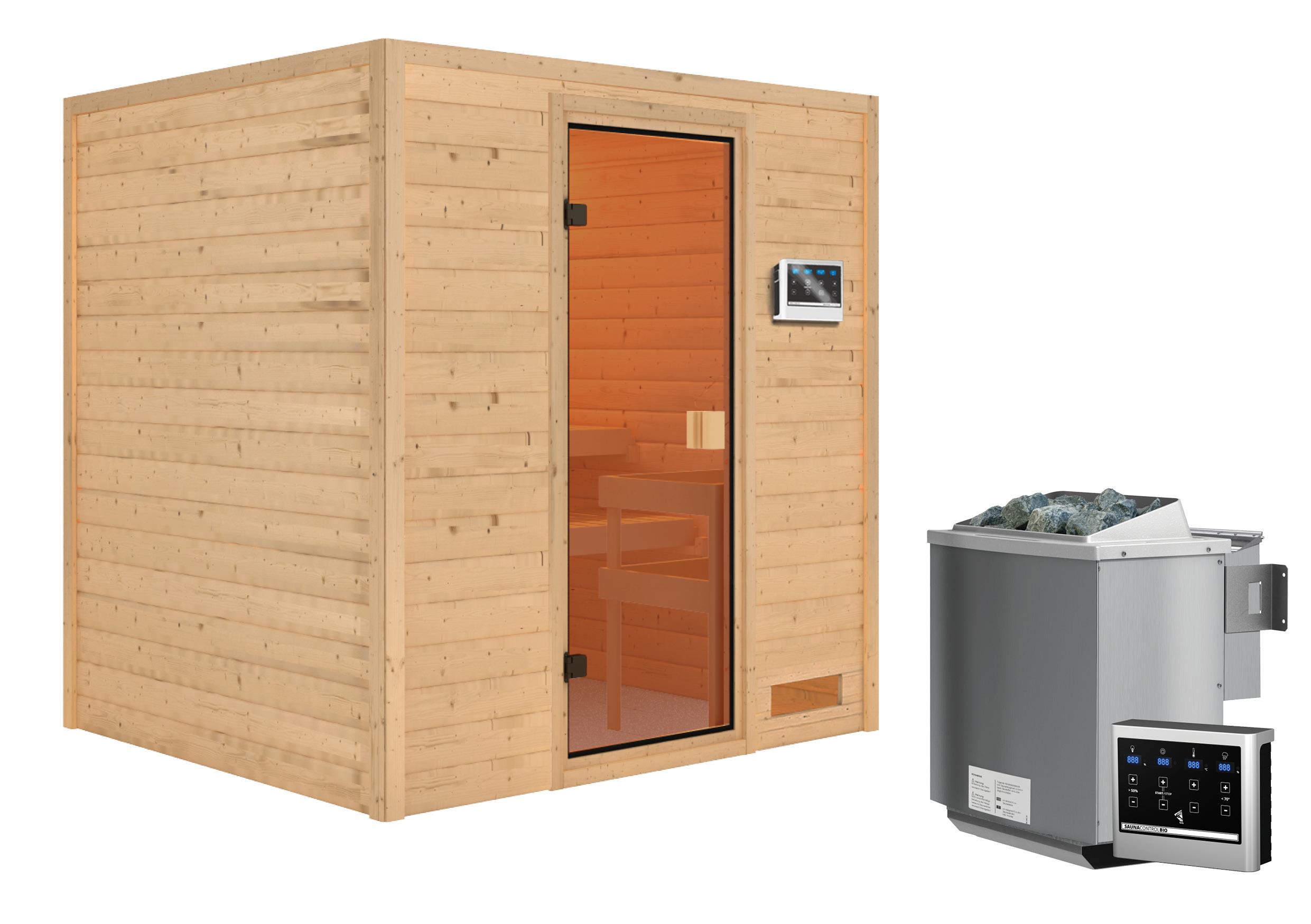 Woodfeeling Sauna Adelina 38mm Bio Saunaofen 9kW extern Bild 8