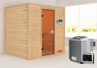 Woodfeeling Sauna Adelina 38mm Bio Saunaofen 9kW extern Bild 1