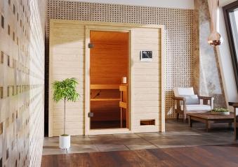 Woodfeeling Sauna Adelina 38mm Bio Saunaofen 9kW extern Bild 11