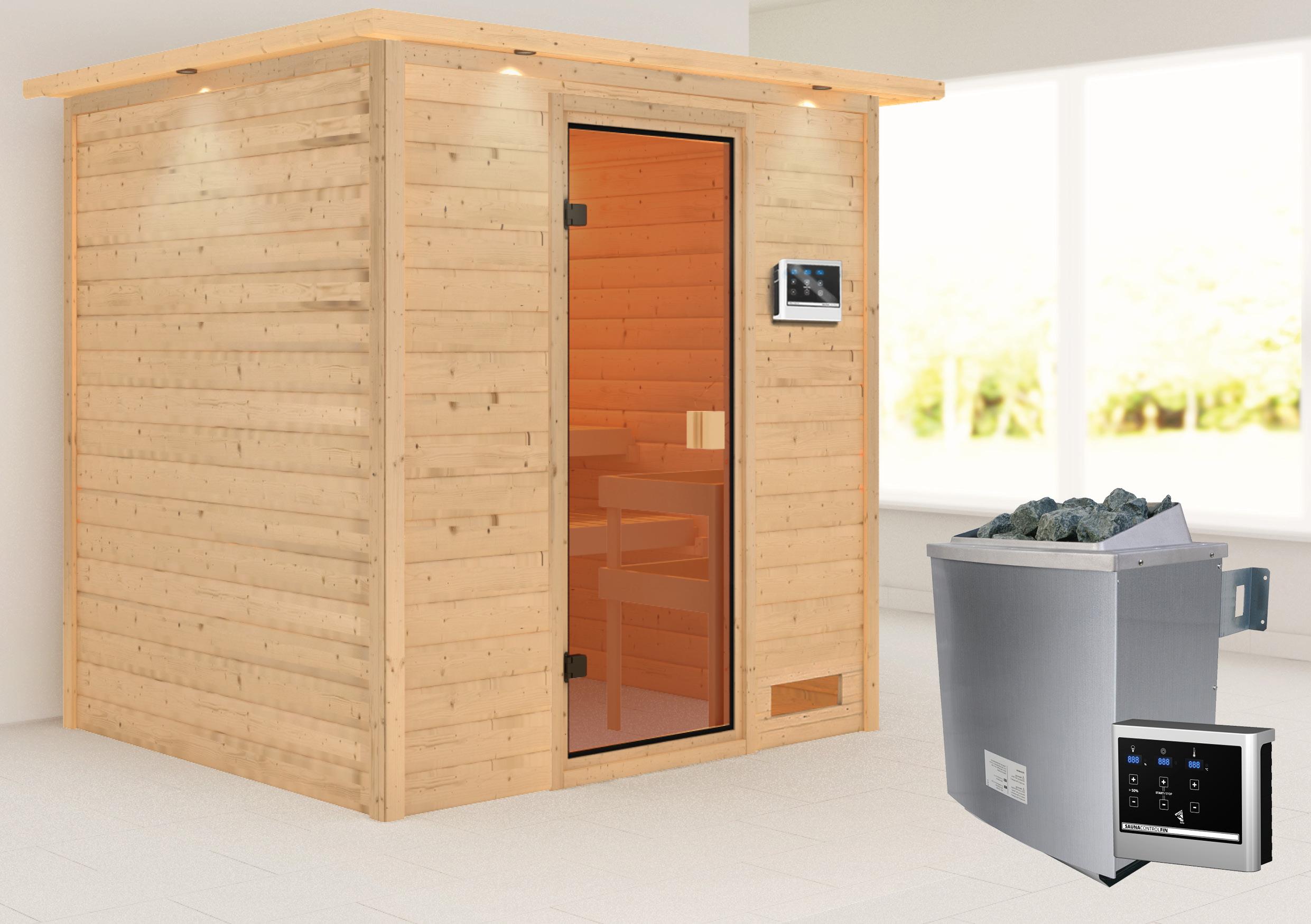 Woodfeeling Sauna Adelina 38mm Dachkranz Saunaofen 9kW extern Bild 1