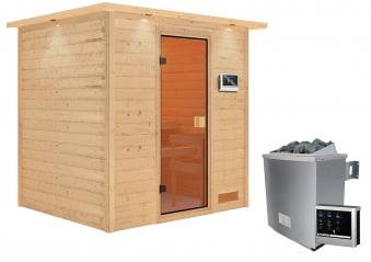 Woodfeeling Sauna Adelina 38mm Dachkranz Saunaofen 9kW extern Bild 12