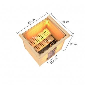 Woodfeeling Sauna Adelina 38mm Dachkranz Saunaofen 9kW extern Bild 10