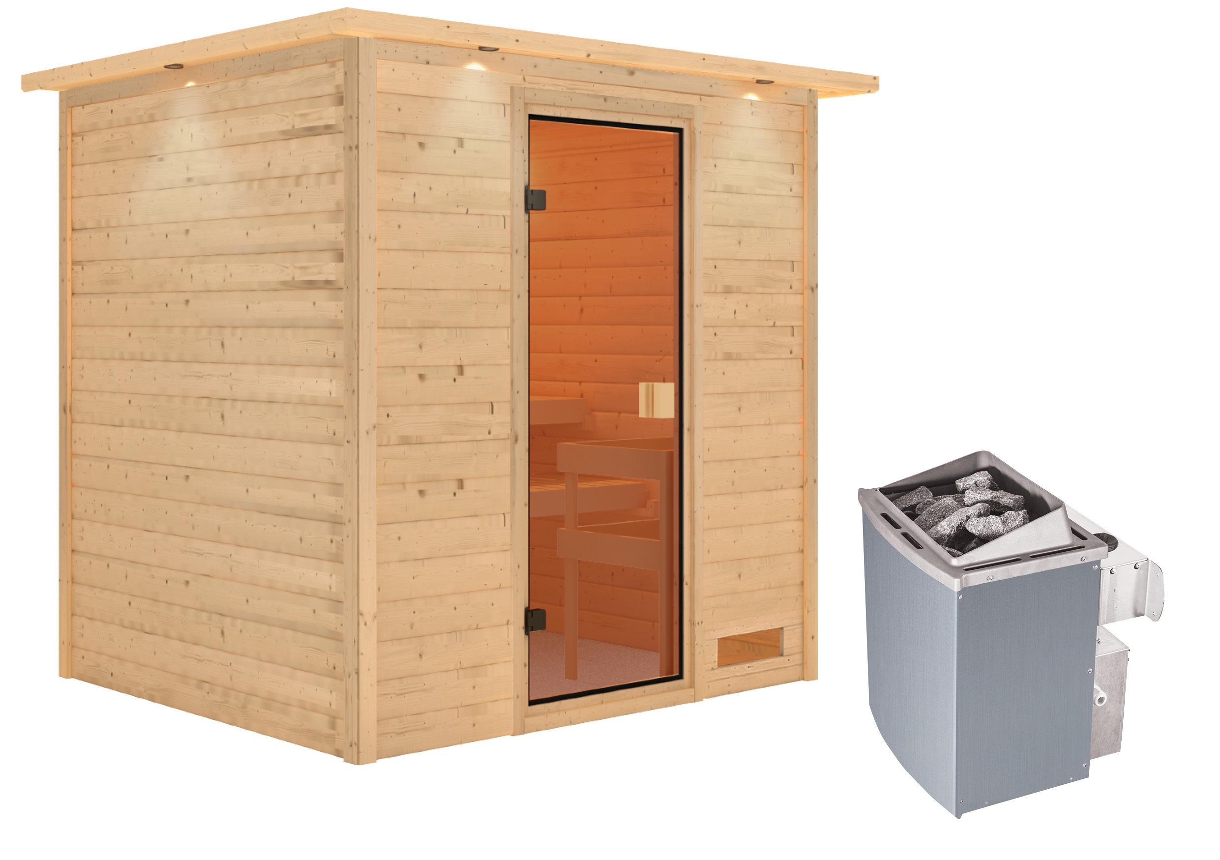 Woodfeeling Sauna Adelina 38mm Dachkranz Saunaofen 9kW intern Bild 2