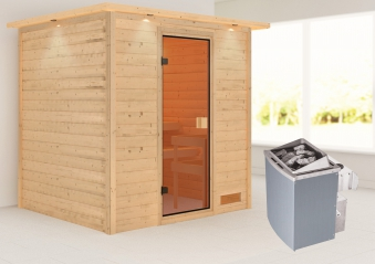 Woodfeeling Sauna Adelina 38mm Dachkranz Saunaofen 9kW intern Bild 1