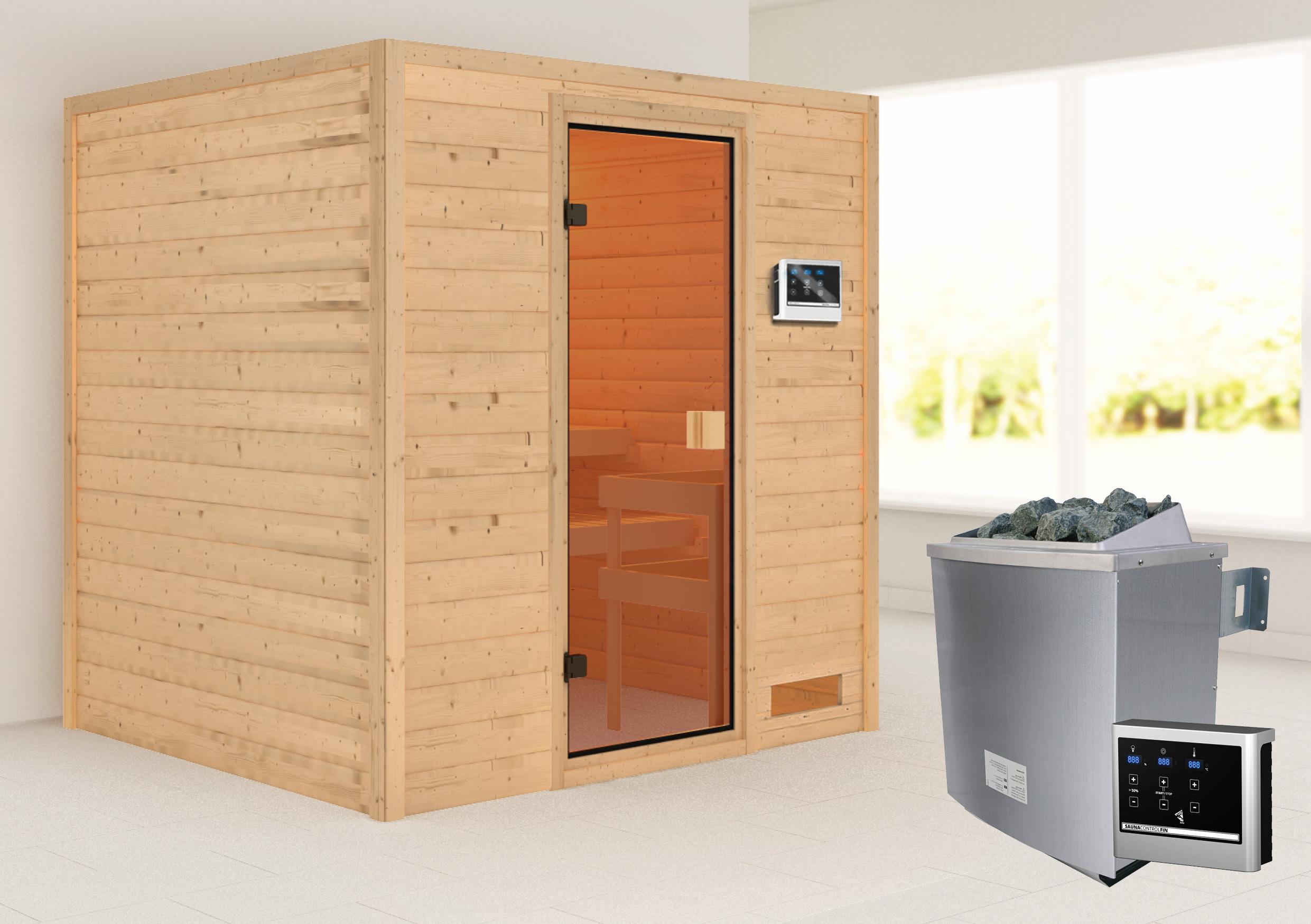 Woodfeeling Sauna Adelina 38mm Saunaofen 9kW extern Bild 1