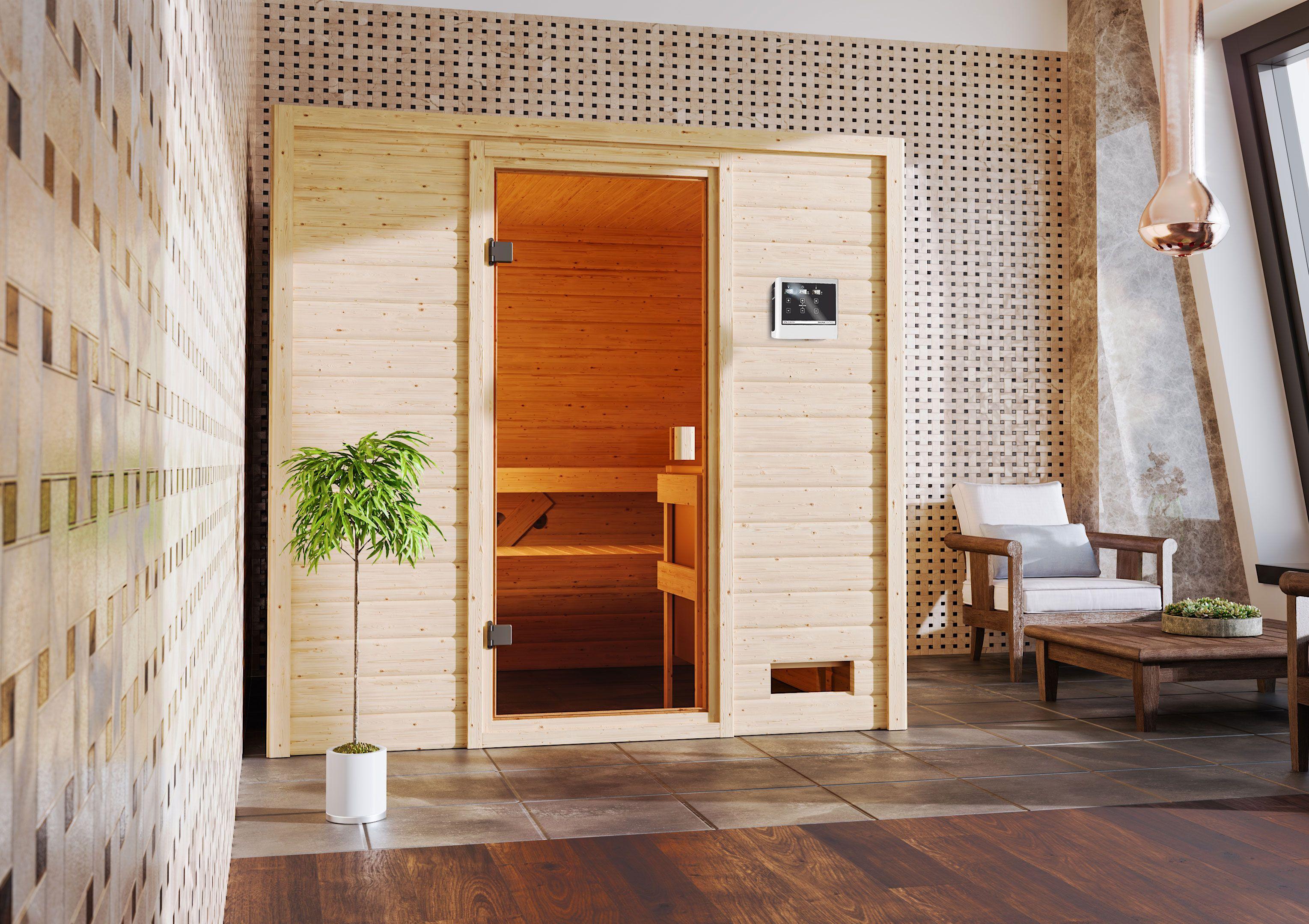 Woodfeeling Sauna Adelina 38mm Saunaofen 9kW extern Bild 11