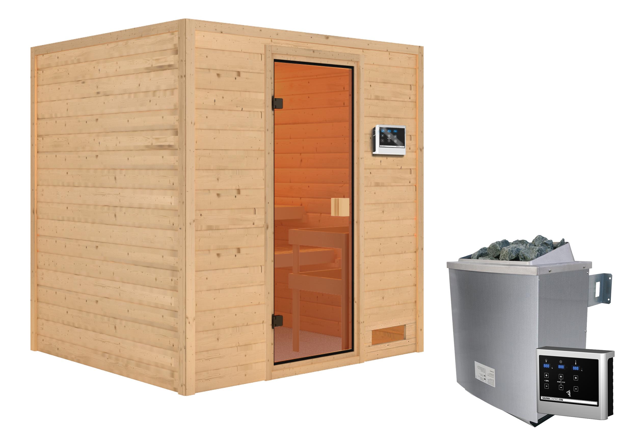 Woodfeeling Sauna Adelina 38mm Saunaofen 9kW extern Bild 5