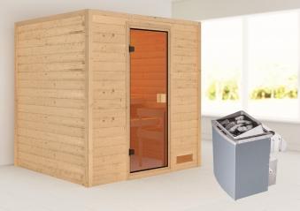 Woodfeeling Sauna Adelina 38mm Saunaofen 9kW intern Bild 1