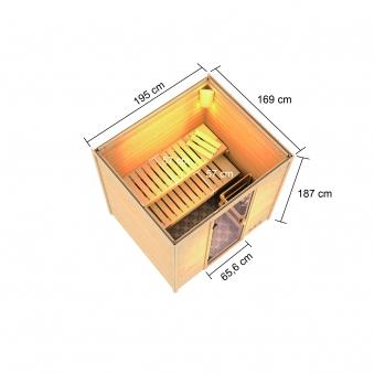 Woodfeeling Sauna Adelina 38mm Saunaofen 9kW intern Bild 9