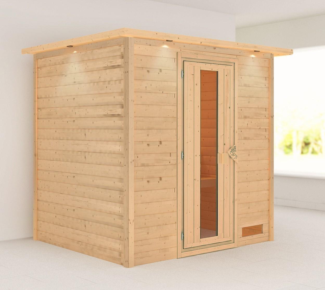 Woodfeeling Sauna Anja 38mm Dachkranz ohne Ofen Holztür Bild 1