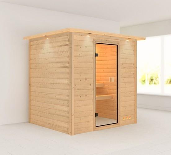 Woodfeeling Sauna Anja 38mm Dachkranz ohne Ofen Classic Tür Bild 1