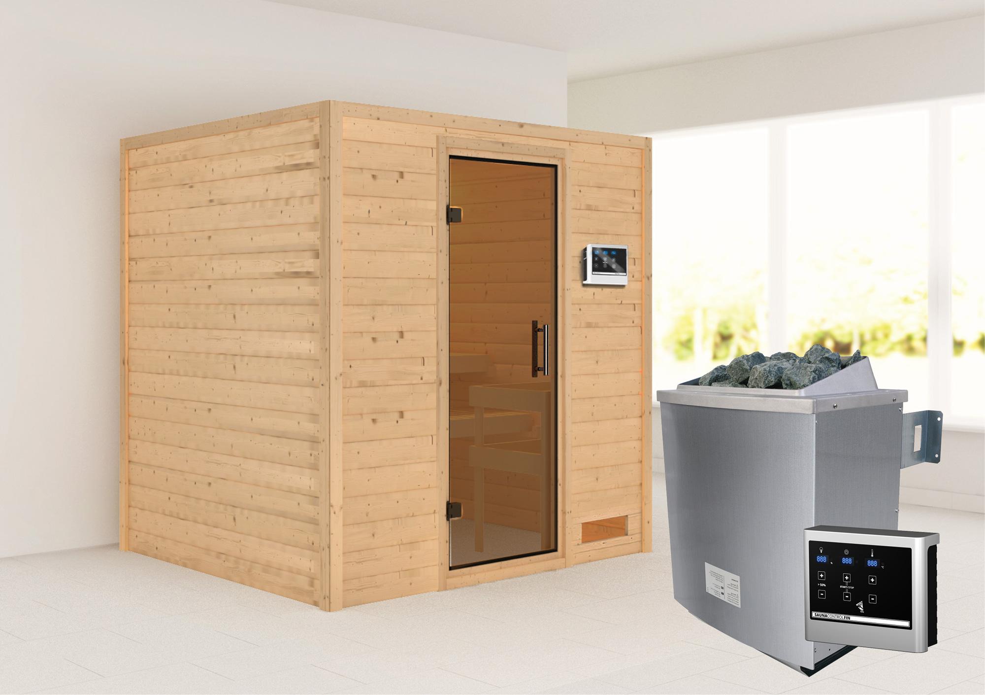 Woodfeeling Sauna Anja 38mm mit Saunaofen 9 kW extern moderne Tür Bild 1