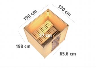 Woodfeeling Sauna Anja 38mm mit Saunaofen 9 kW extern moderne Tür Bild 3