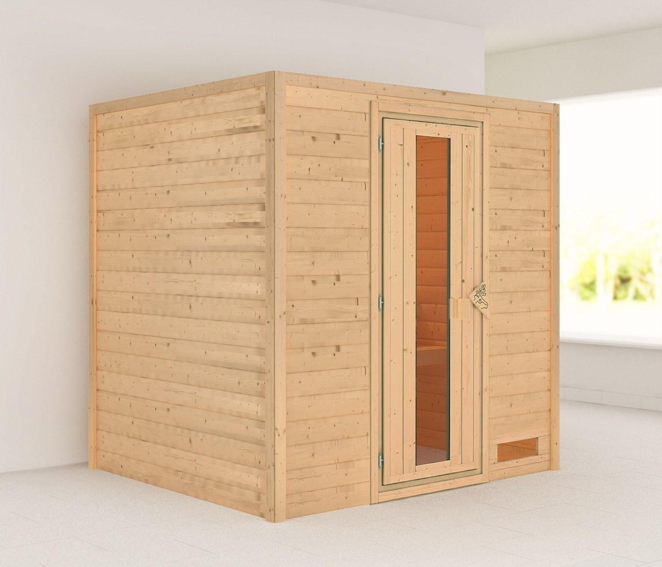 Woodfeeling Sauna Anja 38mm ohne Ofen Holztür Bild 1