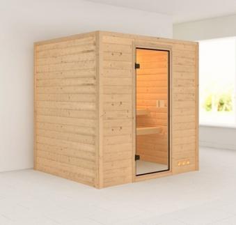 Woodfeeling Sauna Anja 38mm ohne Ofen Classic Tür Bild 1