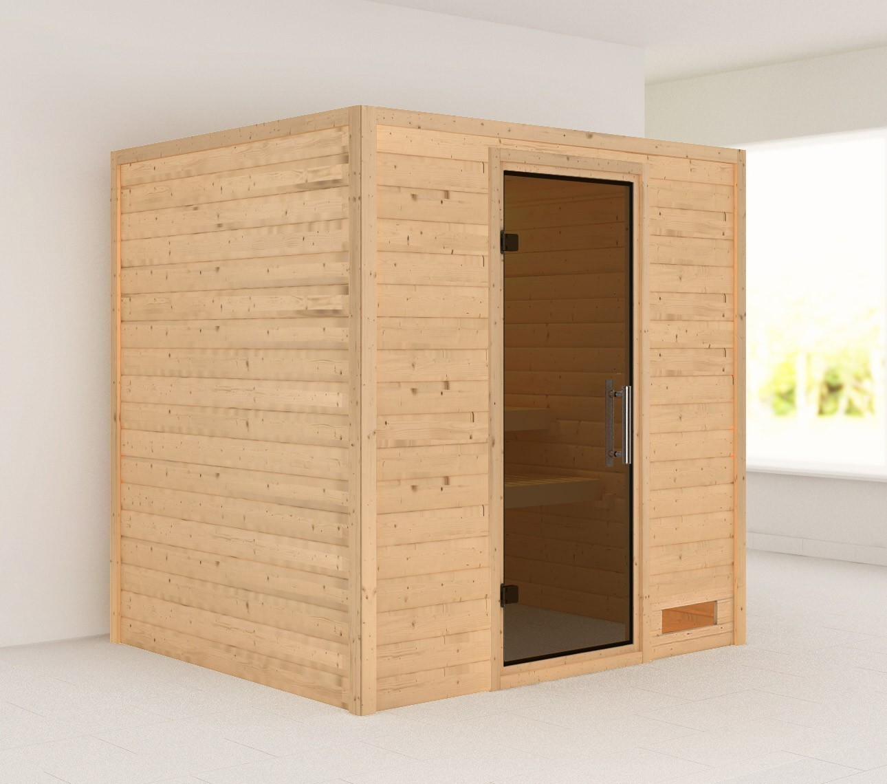 Woodfeeling Sauna Anja 38mm ohne Ofen moderne Tür Bild 1