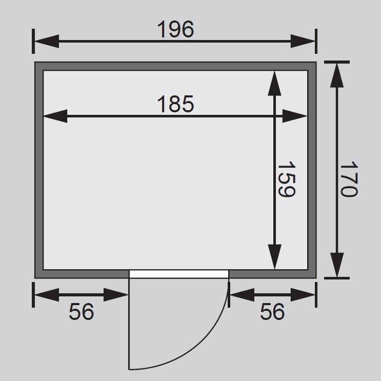Woodfeeling Sauna Anja 38mm ohne Ofen moderne Tür Bild 2