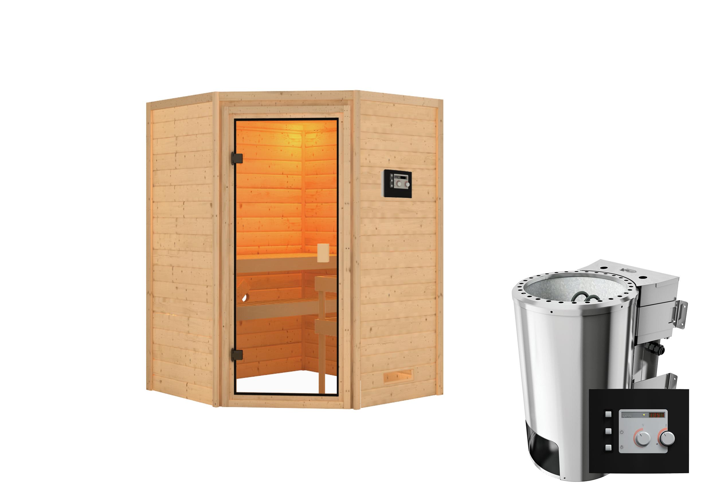 Woodfeeling Sauna Antonia 38mm 230V Bio Saunaofen 3,6 kW extern Bild 4