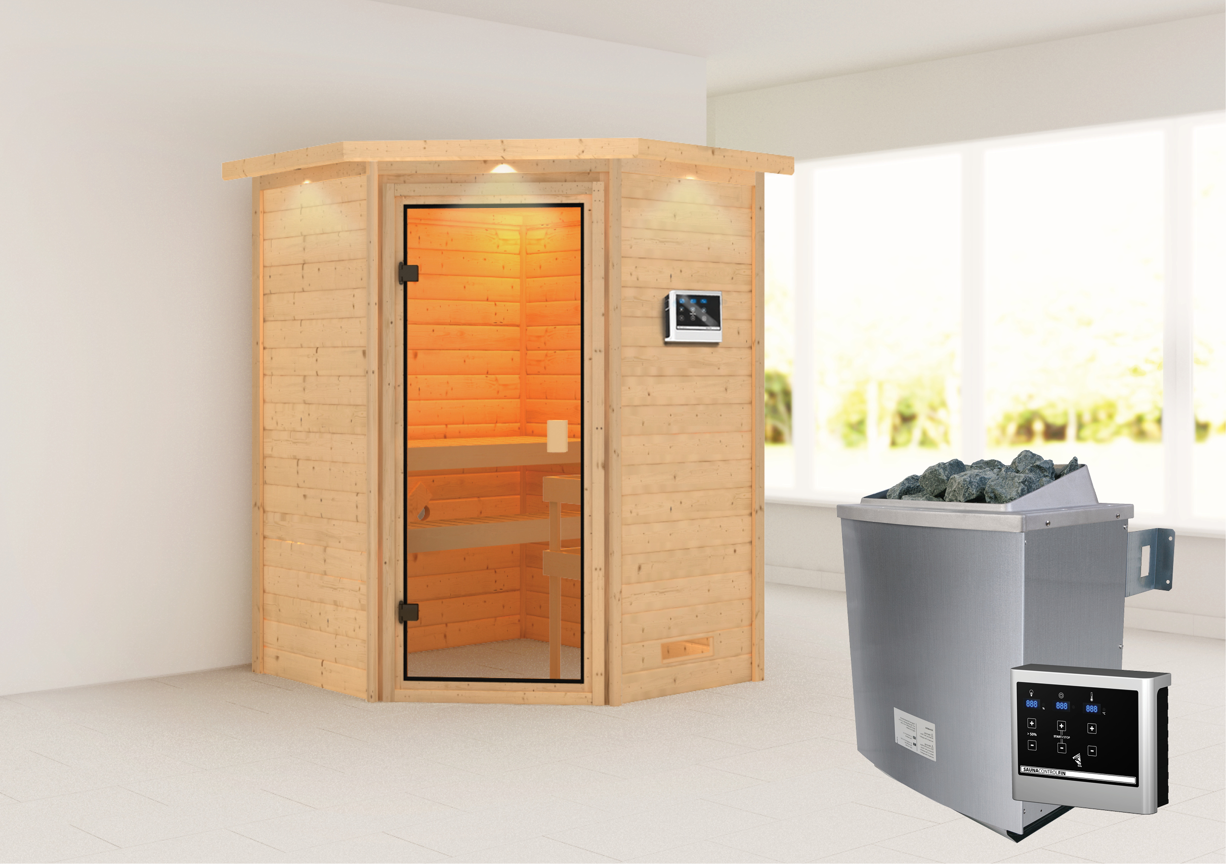 Woodfeeling Sauna Antonia 38mm Dachkranz Saunaofen 9 kW extern Bild 1
