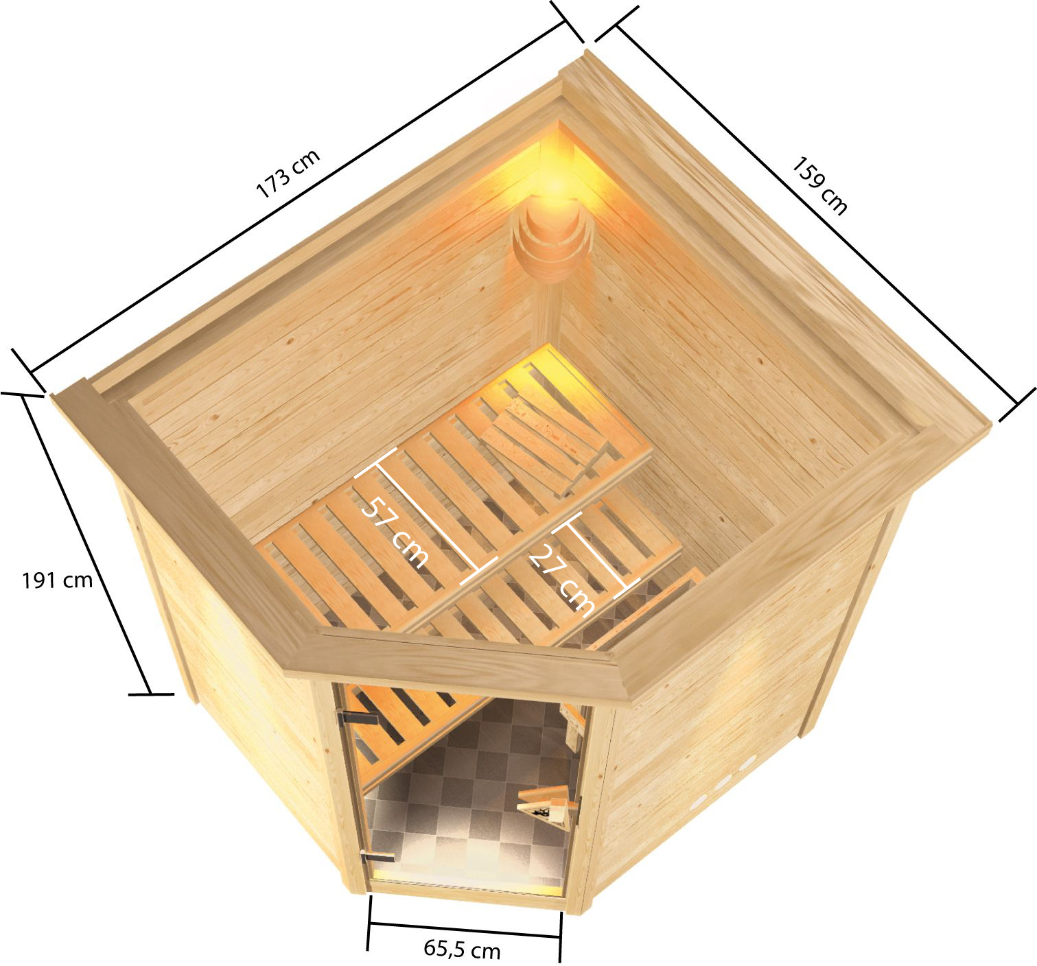 Woodfeeling Sauna Antonia 38mm Dachkranz Saunaofen 9 kW extern Bild 8